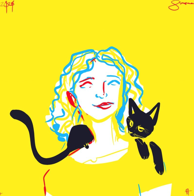 Sketch in yellow, black, blue, and red of a woman with shoulder length curly hair. A black cat rests on her shoulders.