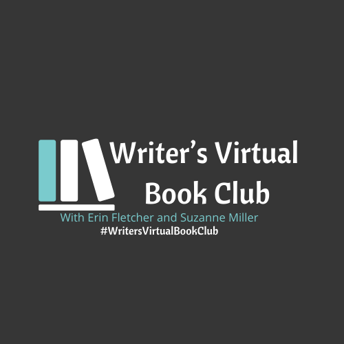 """Background: gray Teal and white icon of books sits beside text which reads: """"Writer's Virtual Book Club with Erin Fletcher and Suzanne Miller #WritersVirtualBookClub"""""""